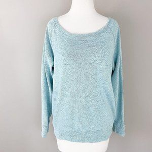 Bobi Blue off Shoulder Slouchy Pullover Small